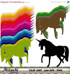 80% OFF SALE Rainbow Unicorn Digital Clip Art  by MilachiDigitals