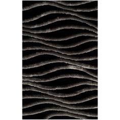 Safavieh Handmade 3D Shag Black/ Grey Rug (2'6 x 4')