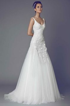V-Neck A-Line Wedding Dress  with Natural Waist in Tulle. Bridal Gown Style Number:33114844