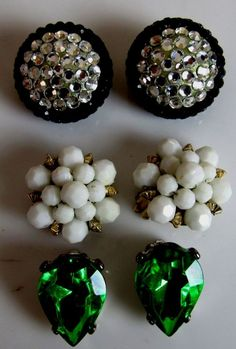 Clip On Earrings Green Rhinestone Black White Costume Jewelry Lot of 3  #Unbranded #Clip #Earrings #Black #White #Green #Costume #Jewelry