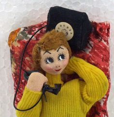 Vintage Retro Kitsch Large Eye Big Eyed Bendable Cloth over Wire Klumpie Style Doll With Telephone and Pillow Teenager Groovy  ATCTTEAM