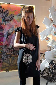 Eley Kishimoto silk dress, Bird, Rye   Vintage beaded bag, Violetta, Rye