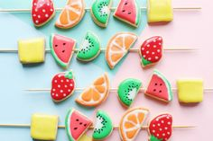The most adorable & party-ready Fruit Kabob Cookies. (No actual fruit required, ha.)