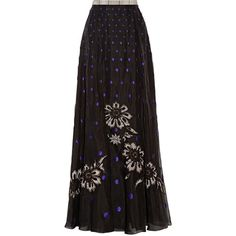 Temperley London Josette embellished polka-dot silk-organza maxi skirt ($1,078) ❤ liked on Polyvore featuring skirts, black, ankle length black skirt, plaid skirt, floor length black skirt, beaded skirt and ankle length skirt