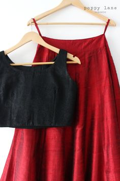 Deep Red Raw Silk Lengha Skirts. Shop now at poppylane.ca