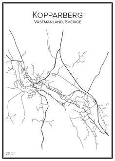 Kopparberg. Ljusnarsbergs kommun. Örebro län. Västmanland. Sverige. Map. City print. Print. Affisch. Tavla. Tryck. Stadskarta.
