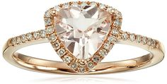 14k Rose Gold Morganite and Diamond Trillion Ring (1/6cttw, H-I Color, I1-I2 Clarity), Size 7