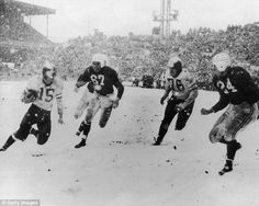 Snow bowl: The last NFL title game played in the snow was the 1948 NFL Championship between the Philadelphia Eagles and the Chicago Cardinals.  The Farmers' Almanac is using words like 'piercing cold,' 'bitterly cold' and 'biting cold' to describe the upcoming winter. And if its predictions are right, the first outdoor Super Bowl in years will be a messy 'Storm Bowl.'
