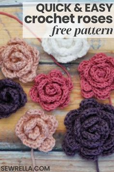 These quick and easy crochet roses are perfect to add to just about any project! Make them for kid's hair clips, attach them to blankets and afghans, or to a top as a brooch. The possibilities are endless with this simple, beginner free pattern. Roses Au Crochet, Crochet Flower Hat, Crochet Butterfly, Crochet Hair Clips, Crochet Brooch, Crochet Birds, Crochet Stars, Kids Crochet, Beginner Crochet Projects