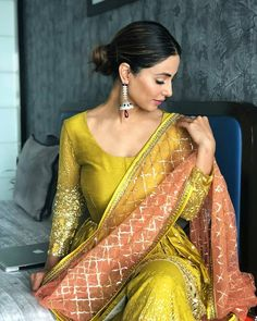Hina Khan in Kalki mirror embroidered suit and sharara with contrasting peach net dupatta Pakistani Fashion Casual, Pakistani Dress Design, Pakistani Dresses, Indian Dresses, Indian Outfits, Indian Fashion, Women's Fashion, Hijab Fashion, New Style Suits