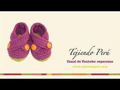 Zapatitos cruzados tejidos en dos agujas para bebes (Parte 2) - YouTube