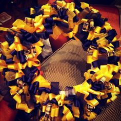 Homemade WVU ribbon wreath !! :)
