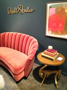 """Pink Velvet Sofa. One totally girlie room (maybe just Lainey's and we can """"borrow"""" it sometimes."""