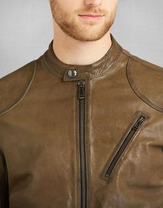 Maxford Blouson Jacket - Pale Military Leather