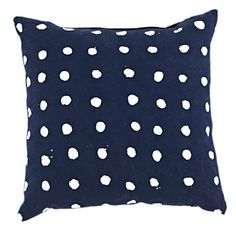 Navy and Dots Pillow $125
