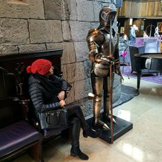 Casually chatting to one of the knights in the hotel's entrance. This armour is original! IRELAND: Clontarf Castle Hotel, Dublin - The Fit Traveller http://www.thefittraveller.com.au/stay/3800/ #clontarfcastle #thefittraveller