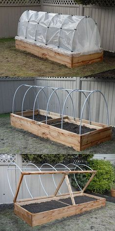 Raised Planter - The hinged lid allows for quick access, as well as easy venting. Hoop house plastic can be rolled up in the summer to keep rain off tomatoes, or removed entirely during the hot months. #gardenplanters