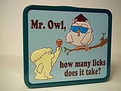 Tootsie Roll Pop Mr. Owl, How Many Licks Metal Lunchbox