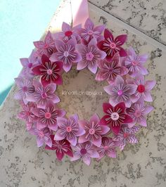 Sweet Pea   Origami/Kusudama Paper Flower Wreath by kreationsbykia