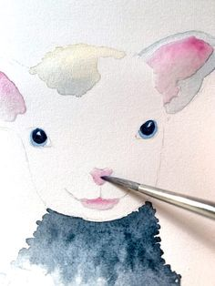 Tierfell mit Aquarellfarben malen: das gelockte Schaf • Creative - Club Creative, Pikachu, Club, Fictional Characters, Watercolor Painting, Baby Sheep, Small Paintings, Sheep, Drawing S