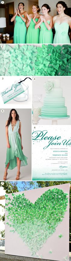 Ombre wedding inspiration board in emerald green! it doesnt have the dark green but the idea of going light green to dark green with the bridesmaid dresses! @Tammi Nepia Dodge
