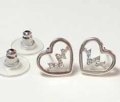 *HEART WITH AB CRYSTAL PULSE*  Nurse Silver Plated Enamel Post Earrings ~~USA?