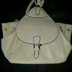 Faux Leather Backpack Medium sized backpack.Light cream color with faint pink undertones and gold accents. Perfect for school or everyday wear. Excellent condition. Bags Backpacks