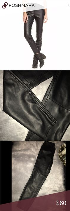 Free People Black faux leather legging pants Never worn size 6 vegan leather with ankle zip legging pants retails $100 Free People Pants