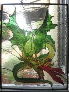 Large DRAGON Stained glass panel. $500.00, via Etsy.