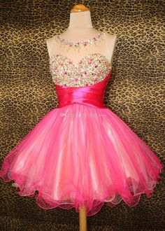 Real Sample Sheer Neck Open Back Graduation Dresses Beads Colorful A Line Fuchsia Sexy Short Prom Dress Party Gown Ball Gown Pleat Cheap Online with $97.91/Piece on First_lady_dress's Store | DHgate.com
