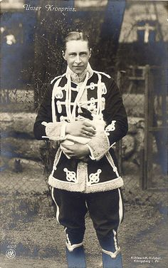 In this photographic postcard, Crown Prince Wilhelm of Prussia, dressed in the uniform of the Lieb-Hussar Regiment, smiles for the camera as he holds a beautiful white rabbit with black ears Wilhelm Ii, Kaiser Wilhelm, Black And White Rabbit, German Royal Family, Queen Victoria Family, Prince Héritier, Reine Victoria, Frederick William, Germany