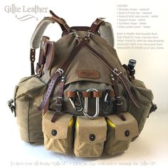 Bush Craft, Bushcraft, SHTF, Survival, Backpack, M39 Swedish Rucksack has been Gillie'd by Gillie Leather. It has parts from 5 different countries added to an M39 Swedish Ruck frame and body.