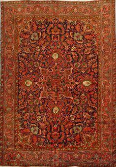 "Handmade Heriz Persian Rug 6' 9"" x 9' 7"""