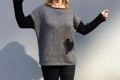 Hand Knit Sweater, Oversized Gray Wool Winter Tunic, Wool Blouse Heart Patchwork, Hand Knit Jumper, This plus size sweater is made of Turkey's best quality % 50 Wool and % 50 acrylic yarns and hand knitted with love. How To Start Knitting, Knitting For Beginners, Plus Size Sweaters, Hand Knitted Sweaters, Hand Knitting, Black And Grey, Turkey, Men Sweater, Tunic