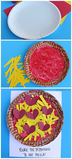 "Paper Plate Pepperoni Pizza Craft – Easy Valentine's Day Craft for Kids! ""You're… – Valentine's Day Valentine's Day Crafts For Kids, Daycare Crafts, Classroom Crafts, Toddler Crafts, Preschool Crafts, Toddler Activities, Valentine Theme, Valentines For Kids, Valentine Day Crafts"