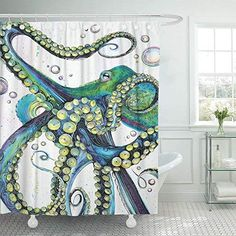 Buy Emvency Shower Curtain Vintage Colorful Fashion Octopus Painting Polyester Fabric 78 X 72 Inches Shower Curtains Mildew Resistant Waterproof Adjustable Hook Odorless Bathroom at Discounted Prices ✓ FREE DELIVERY possible on eligible purchases. Octopus Drawing, Octopus Painting, Octopus Art, Octopus Decor, Octopus Shower Curtains, Fabric Shower Curtains, Kraken, Mermaid Tail Pattern, Posca Art