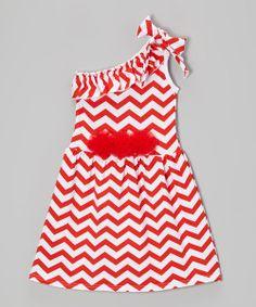 Look at this #zulilyfind! Red & White Zigzag Asymmetrical Dress - Toddler & Girls by Tutus by Tutu AND Lulu #zulilyfinds