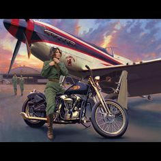 """David Uhl """"Ruth""""  Ruth is an artistic interpretation of Ruth Helm, a real-life WASP (Women's Airforce Service Pilots), who lived through those war years and is still around to talk about it. This scene from 1943 depicts her just after landing her P-51 Mustang and preparing to take a ride on a 1940 Harley-Davidson Knucklehead EL bobber."""