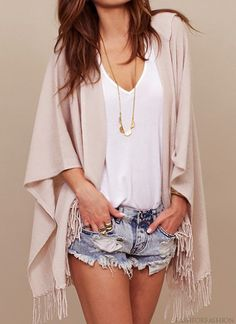 Summer Chic..Check out our cute Kimono's and denim cutoff's arrive any day..follow us!! #shopdailychic