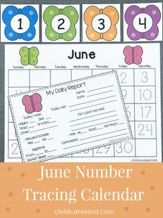june number tracing calendar for preschool and kindergarten