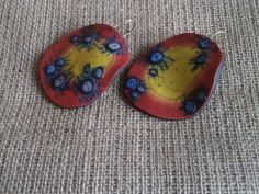 Big red jellyfish earrings from polymer clay by Lijoux