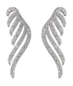 Cubic Zirconia Wing Earcuff. These sterling silver earrings come in a winged design with cubic zirconia crystals for a sparkling finish. Complete with rhodium plating for a longer lifetime. #glitter #jewellery #wings #accessory #fashion