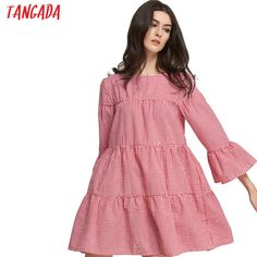 Cheap dress vestidos, Buy Quality red plaid dress directly from China dress summer Suppliers: Tangada Women oversized Dress red plaid dress summer 2017 flare sleeve loose casual Korean Style dresses vestidos For Female XR Korean Fashion Dress, Plaid Dress, Dress Red, Summer Dresses For Women, Dress Summer, Oversized Dress, Red Plaid, Cheap Dresses, Designing Women