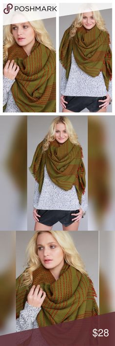 Olive Blanket Scarf Thick thread contrast stitch olive blanket scarf!                                        61X61 Boutique Accessories Scarves & Wraps