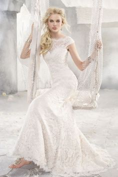 Unique Trumpet/Mermaid Scoop Sweep/Brush Train Lace Fabric Designer Wedding Dresses With Ruched Style d50826