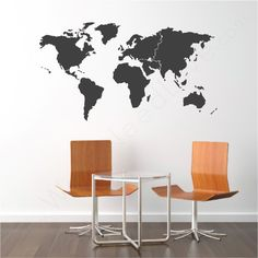World Map Vinyl wall decal   (Picturing it on a narrowish wall, above a kitchen table or low dresser/sideboard)