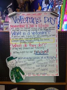 Veterans Day Anchor Chart and Writing Kindergarten Lesson Plan