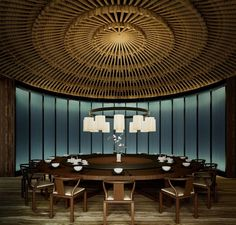 The Puyu Hotel Spa, Wuhan, China by Layan Design Group Cafe Restaurant, Restaurant Design, Chinese Restaurant, Chinese Interior, Spa Hotel, Beste Hotels, Private Dining Room, Cool Lighting, Lighting Stores