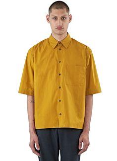MARNI Men'S Short Sleeved Boxy Poplin Shirt In Mustard. #marni #cloth #