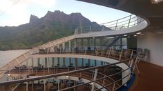 The unique custom design of the ship allows for plenty of outdoor deck space and great views when shows are performed down below on the pool deck. #Aranui #Marquesas #adventure